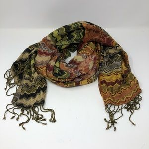 Long Wide Warm Patterned Scarf or Wrap